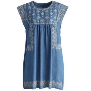 Chicwish Chambray Embroidered Dress